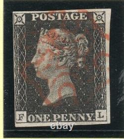 Qv 1840 Sg2 Plaque 1b Penny Noir (f L) Rouge Clair M X Et Marges Proches De Bonne