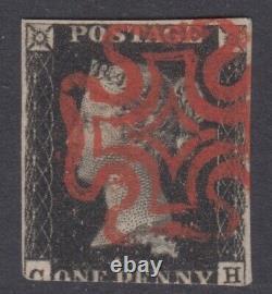 Qv GB 1d Penny Black Maltese Croix Ch Ligne Victorienne Gravée
