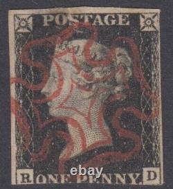 Qv GB 1d Penny Black Maltese Croix Rd Ligne Victorienne Gravée