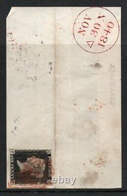 Qv Penny Noir 1840 Sg 2 1d Plaque Noire 4 (p G) Écossais Utilisé Avec MX Rouge