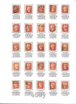 Qv Sg43/44 Penny Red 1d, Plaques 71-224 (sauf 77) Légèrement Montés Sur Des Fiches D'information