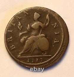 Rare Erreur Pièce 1717 George I Demi-penny Pièce Bonne Qualité Off Struck