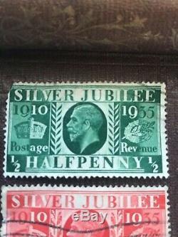 Rare George V Jubilé D'argent Timbres 1910 1935 Rouge Un Penny Vert Demi-penny