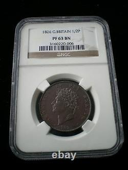 Rare Grande-bretagne George IV 1826 Proof Half Penny 1/2d Pf 63 Bn