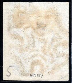 Sg3 1d Penny Grey-black 4 Margins Plaque 5 Maltese Cross & Certificat As26