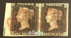 Tangstamps Grande-bretagne #1 Penny Black Used Pair With Imprint, Reine Victoria