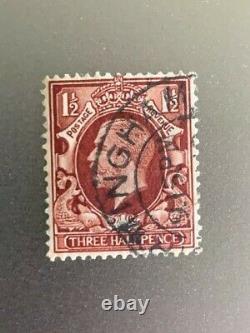 Timbre Grande-bretagne Roi George V 1 1/2 Trois Demi-penny