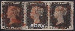 Uh 01 1840 Penny Black Plate 1b Bande De 3 Marges Complètes Sans Faute