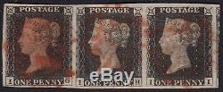 Uh 01 1840 Penny Noir Plaque 1b Bande 3 Complet Marges Pas De Defaut