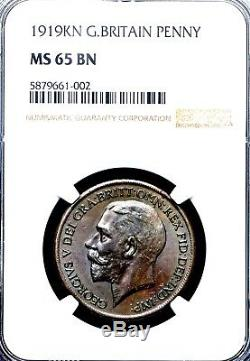 Unique Finest 1919 Kn George V Grand Norton Penny King Bretagne Ngc Ms65 Bn