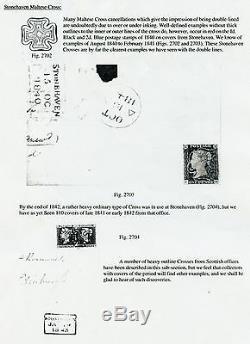 Weeda GB 1 Penny Black, Rare Double Doublé Croix De Malte Rouge Stonehaven Annuler