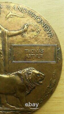 Ww1 British Memorial Bronze Plaque De Mort Penny Thomas Arthur
