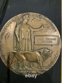 Ww1 Plaque Commémorative Britannique Mort Plaque Mort Penny Brooker Ox & Bucks LI