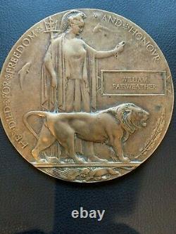 Ww1 Plaque Commémorative Britannique Mort Plaque Mort Penny Fairweather