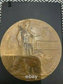 Ww1 Plaque Commémorative Britannique Mort Plaque Mort Penny Hutchinson Cheshire R