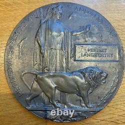 Ww1 Plaque Commémorative Britannique Mort Plaque Mort Penny Langworthy Fusil Bde