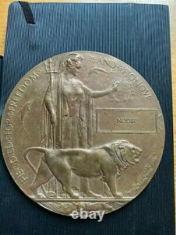 Ww1 Plaque Commémorative Britannique Mort Plaque Mort Penny Nodir Indienne Ou Nodar